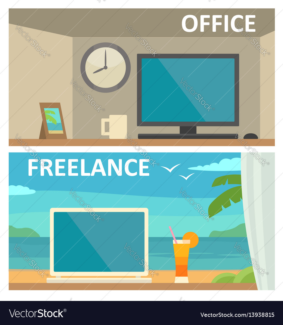 Two different workplace in office and on tropical