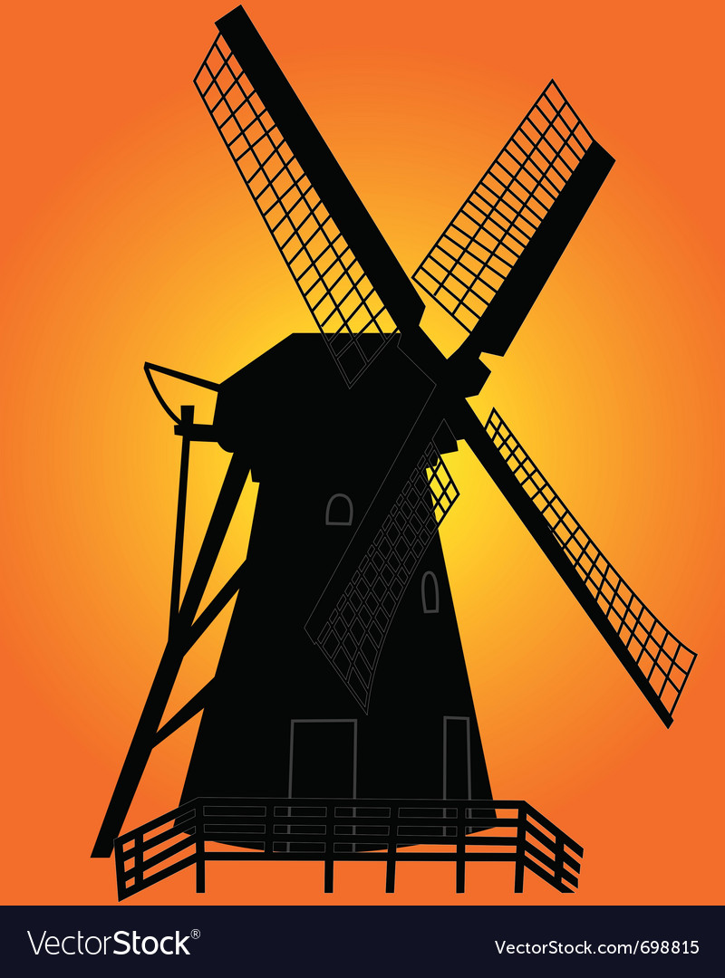 windmill silhouette royalty free vector image vectorstock