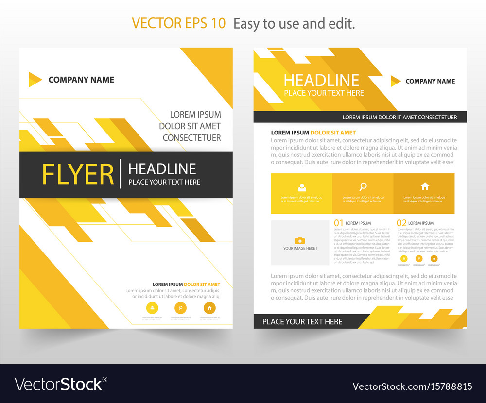 Yellow annual report leaflet brochure flyer Vector Image