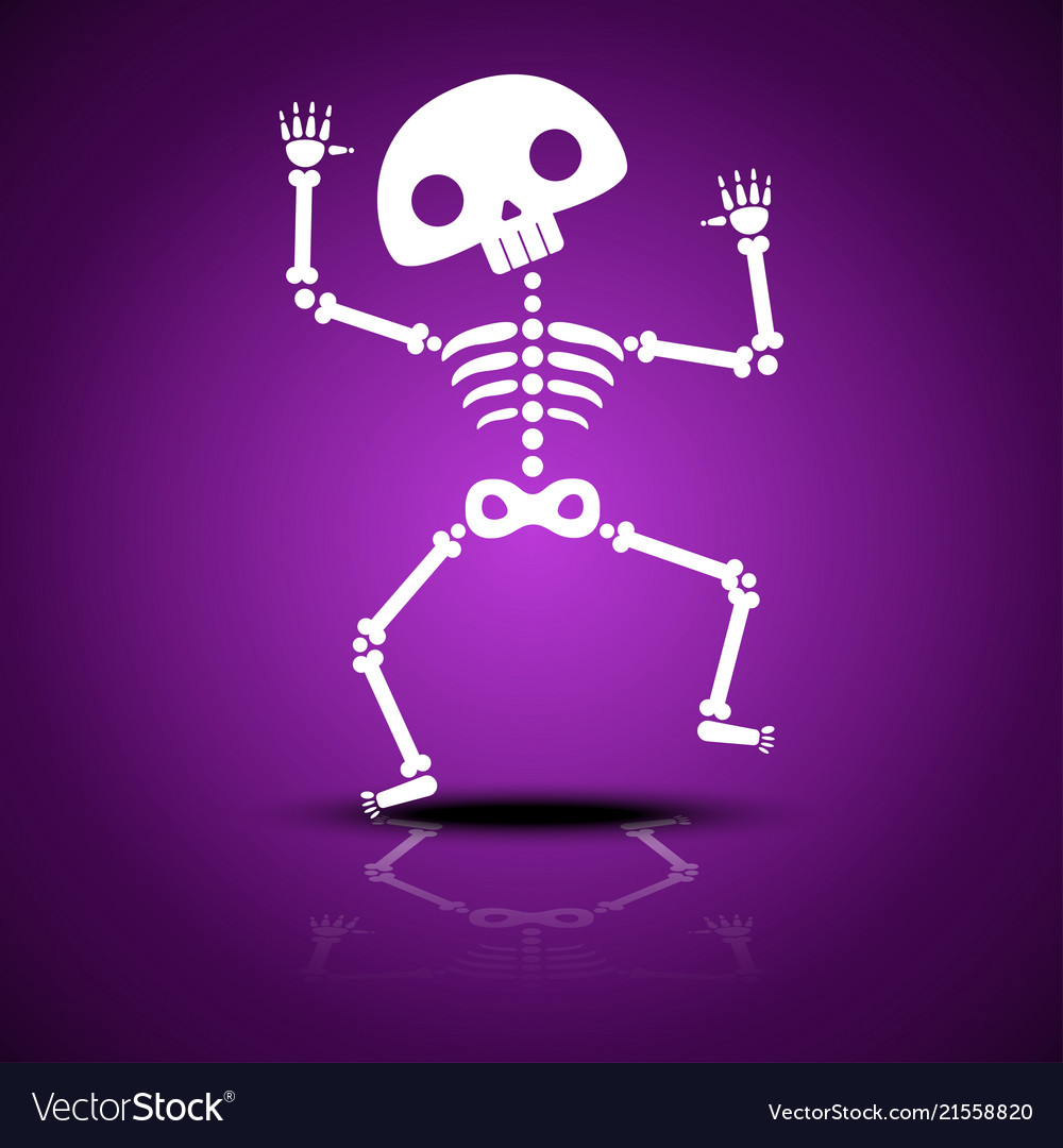 Cartoon dancing skeleton with reflection on a