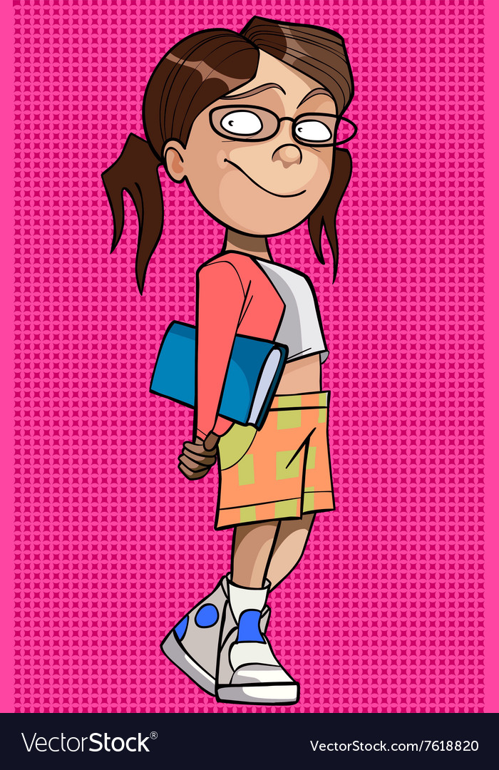 Cartoon girl in glasses with a book under his arm