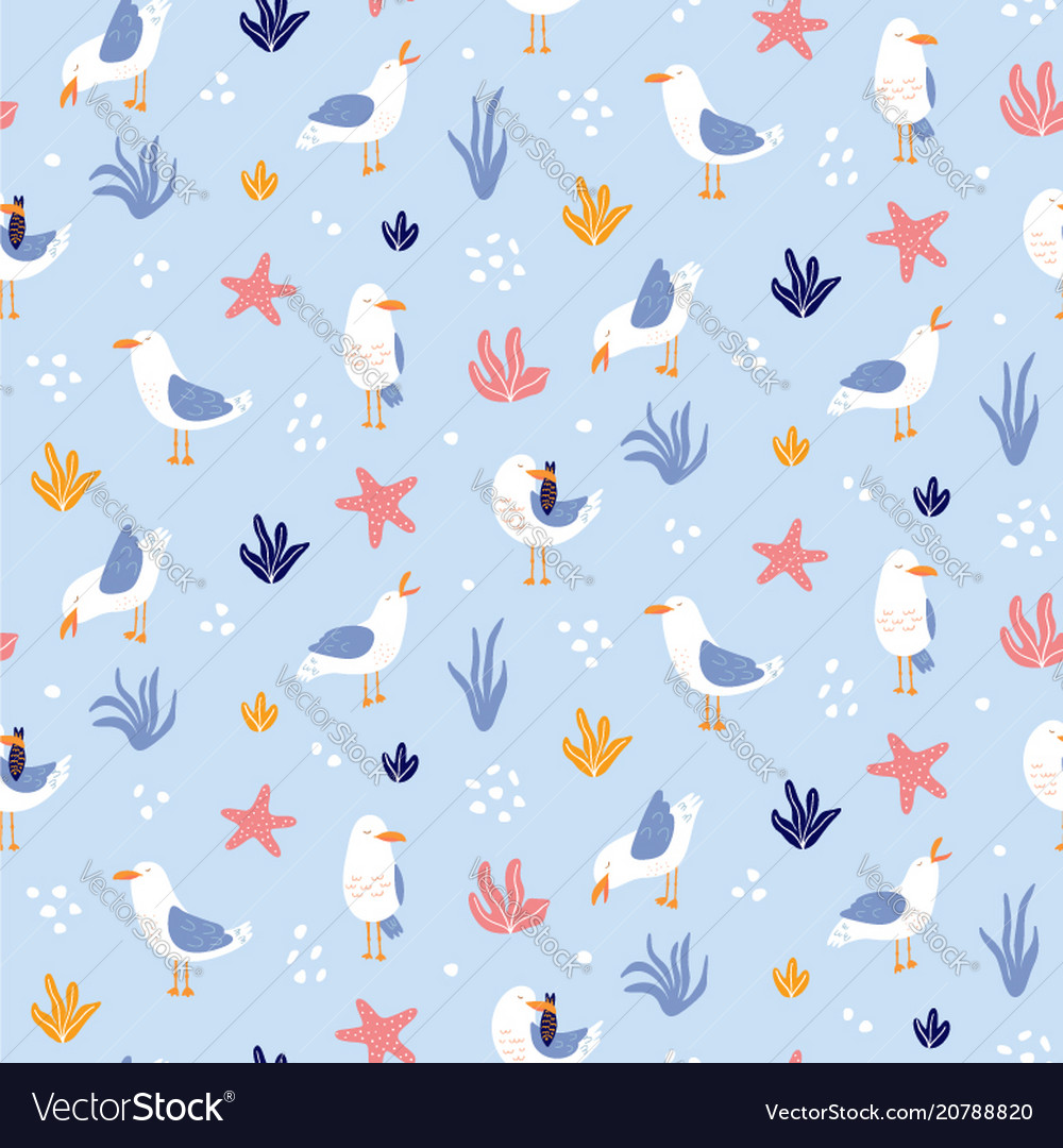 Colorful seamless pattern with seagulls in cute
