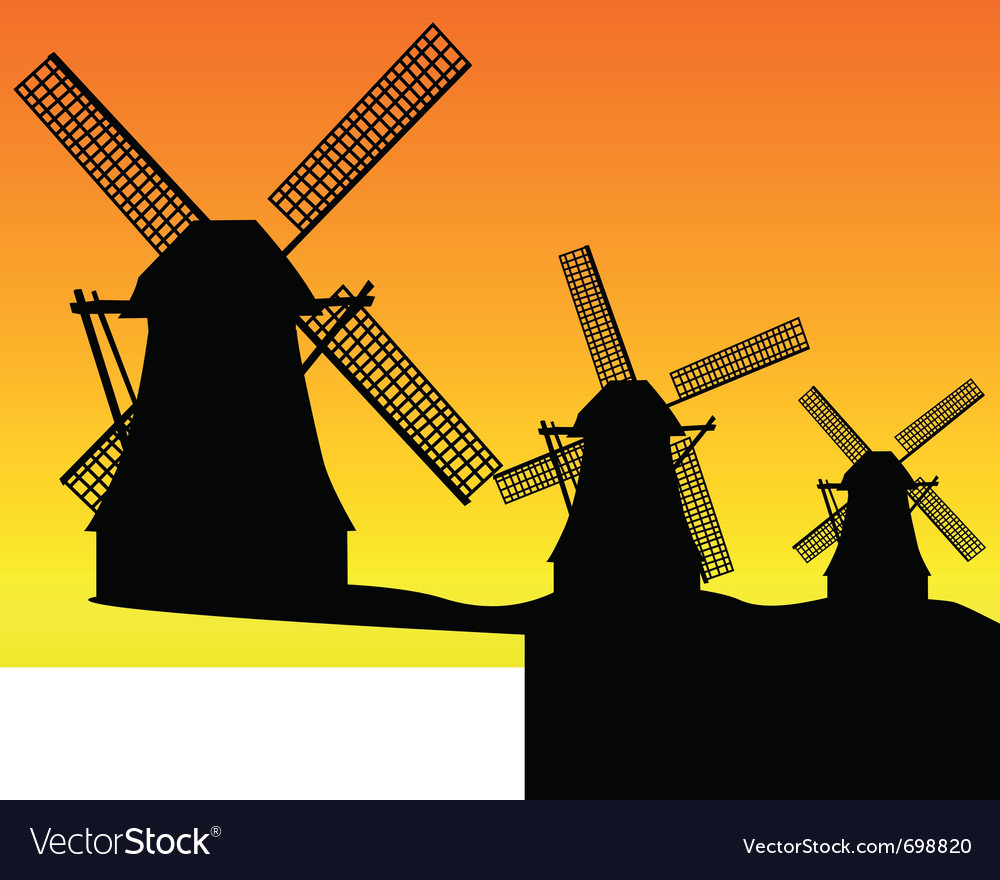dutch windmill silhouettes royalty free vector image