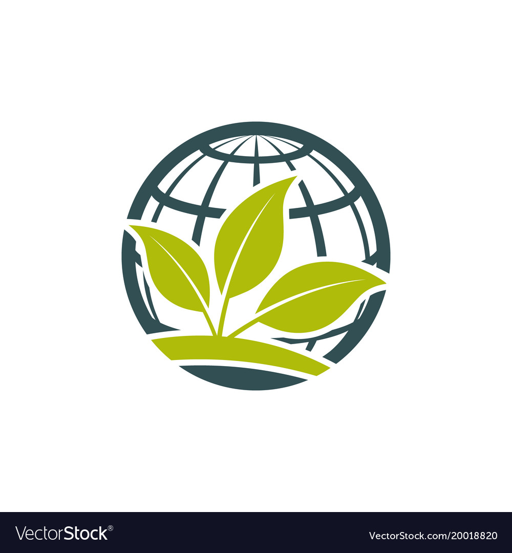 Green eco globe icon