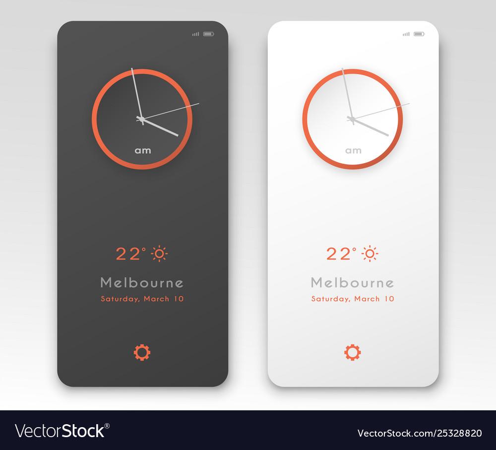 Mobile application interface design clock