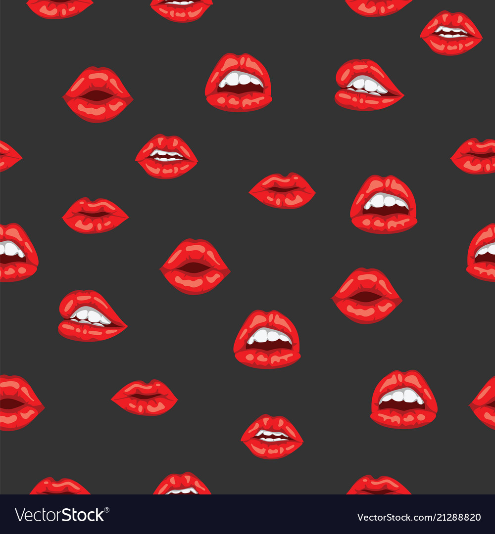 Red woman lips with smile on black background