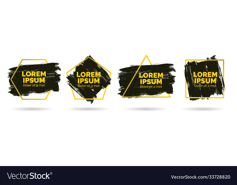 Set modern abstract banners brush black