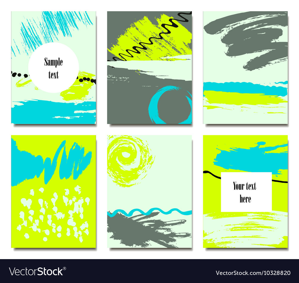 Set of artistic creative universal cards Hand