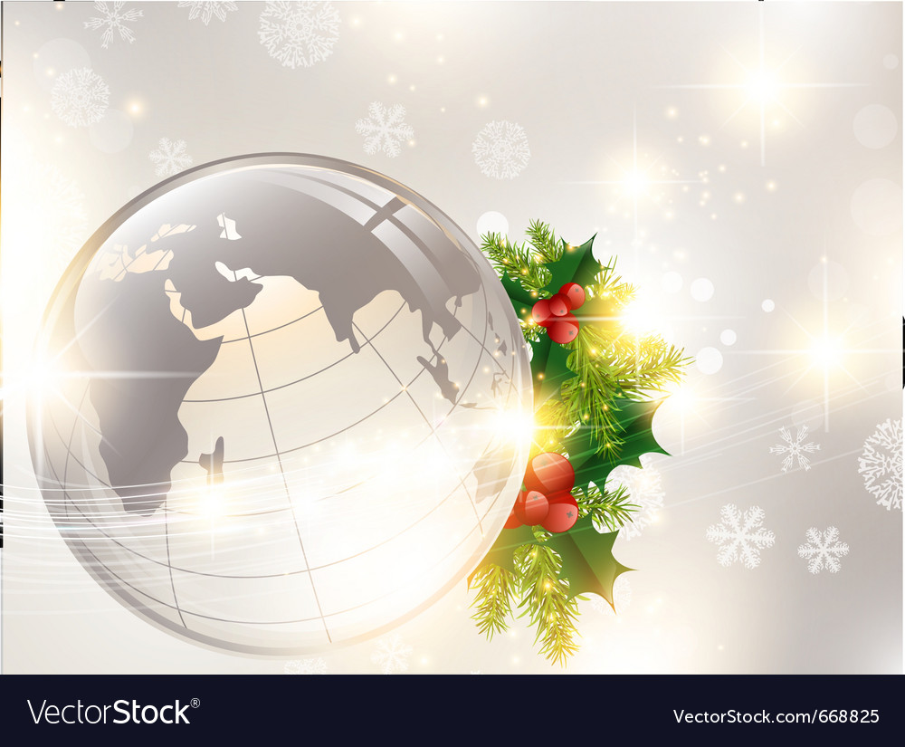 Christmas Holiday Background.Christmas Holiday Background With World Globe