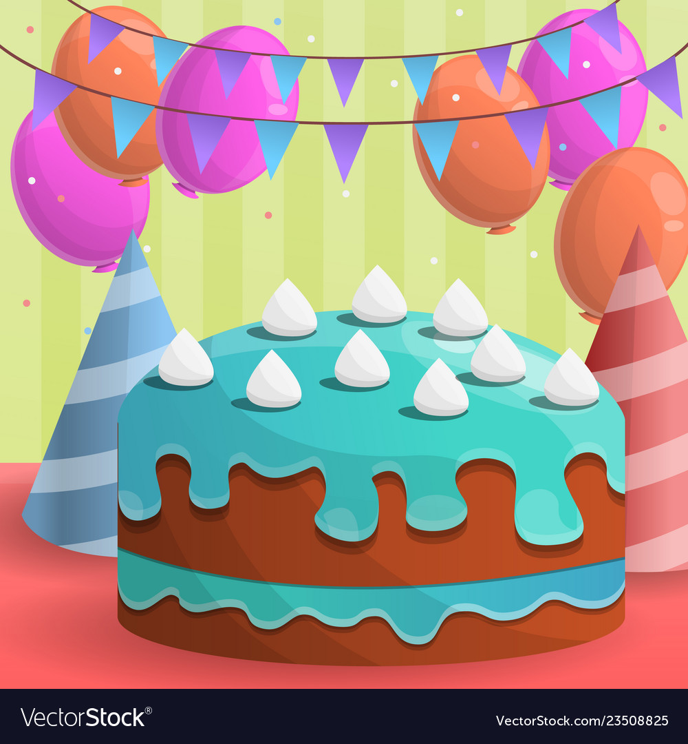 Amazing Colorful Birthday Cake Concept Background Cartoon Vector Image Funny Birthday Cards Online Fluifree Goldxyz
