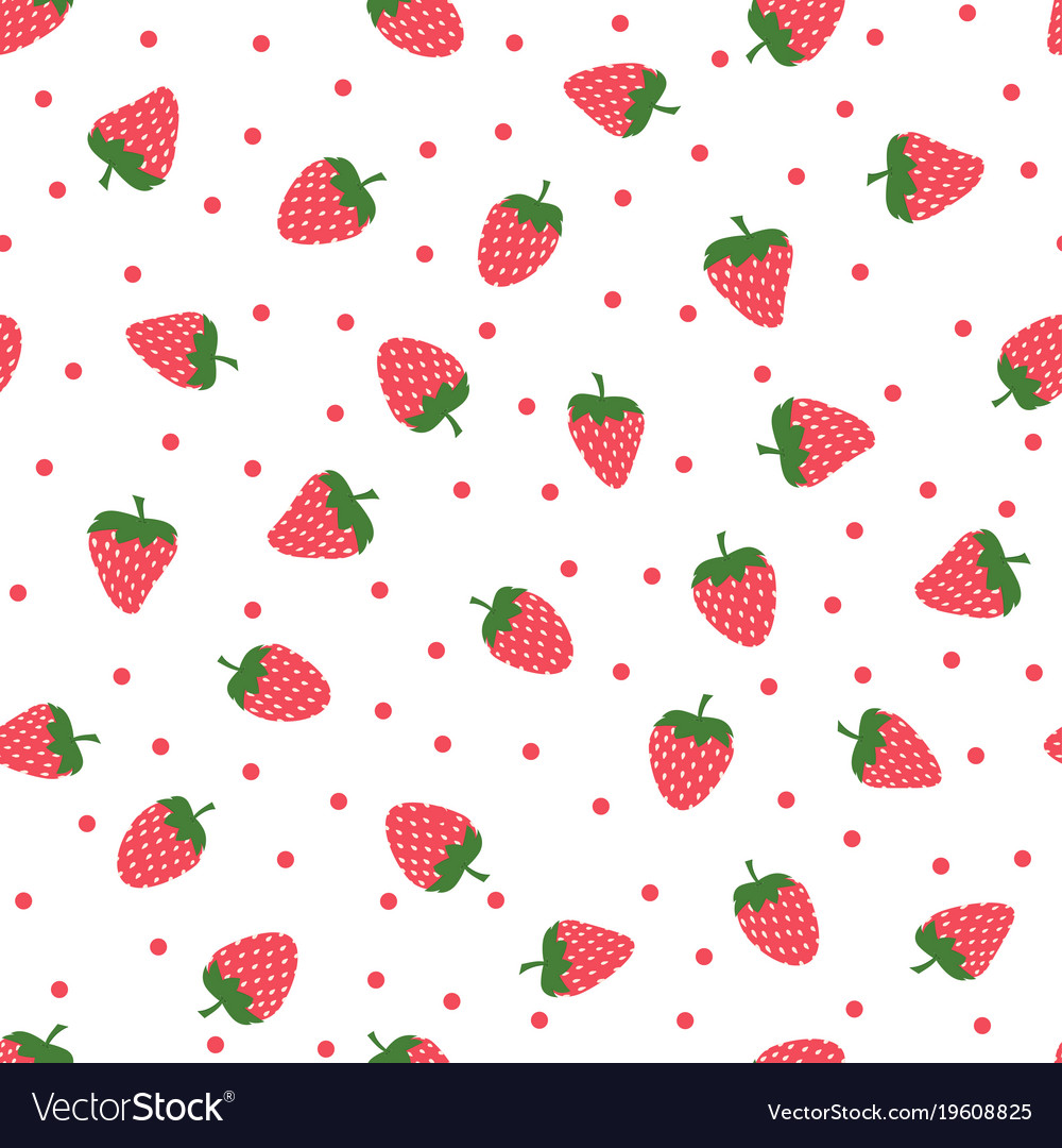Cute Backgrounds: Cute Background With Strawberries Royalty Free Vector Image