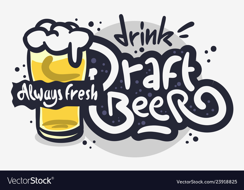 Draft beer hand drawn design on a white