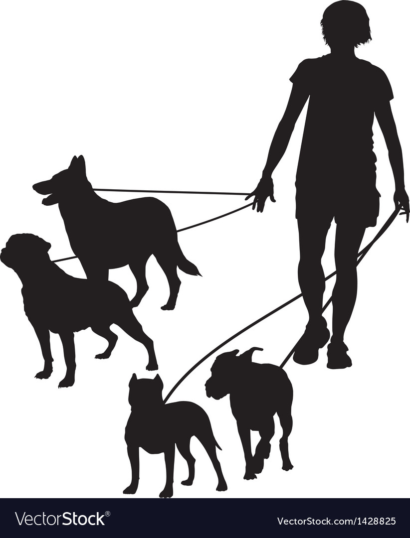 Female and four dogs
