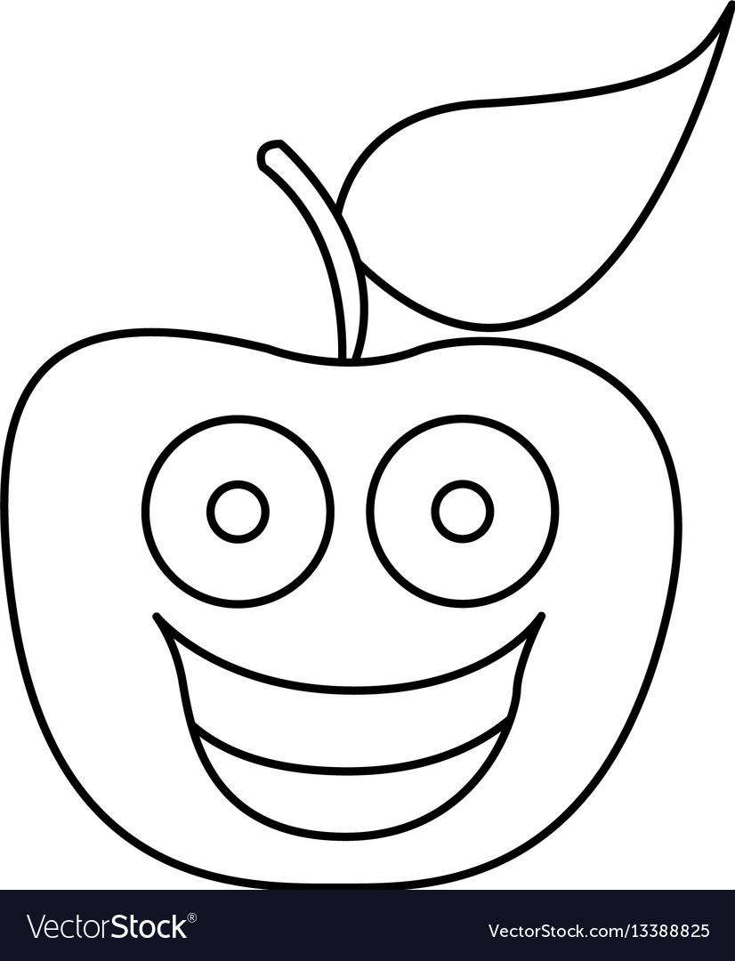Figure kawaii fruit apple happy icon