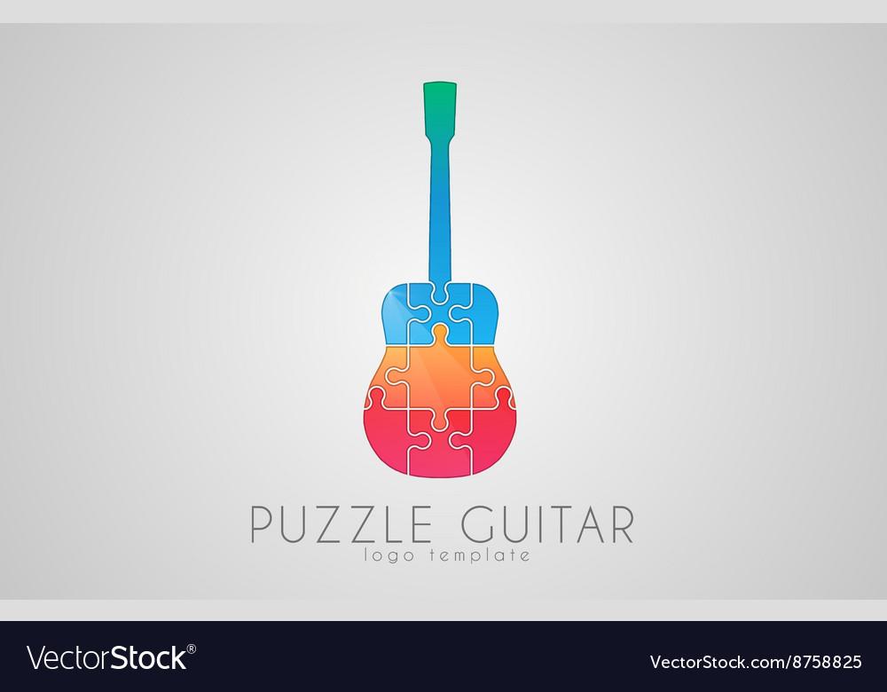Guitar logo Puzzle guitar logo design Creative