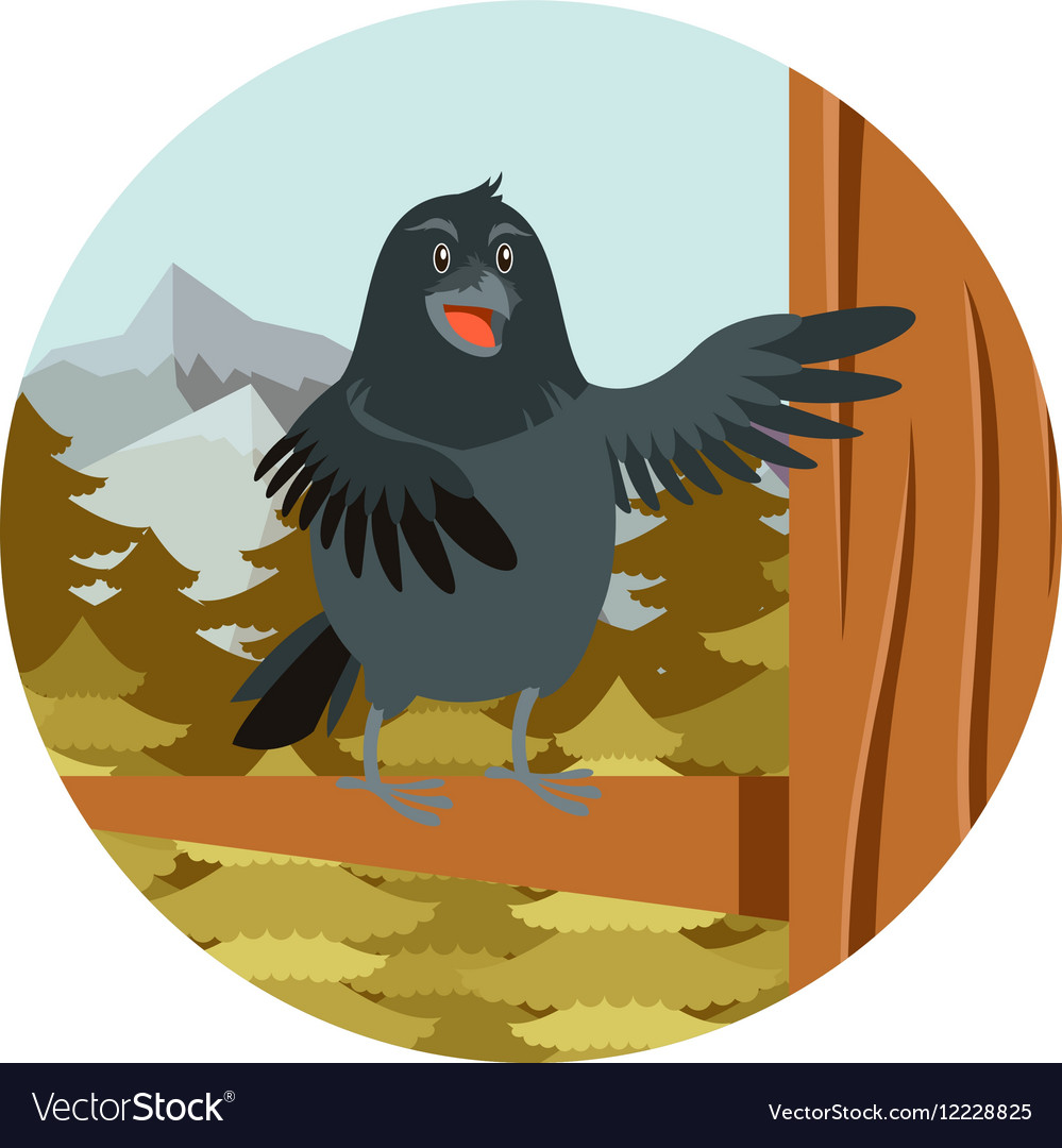 Happy raven on tree winter flat background