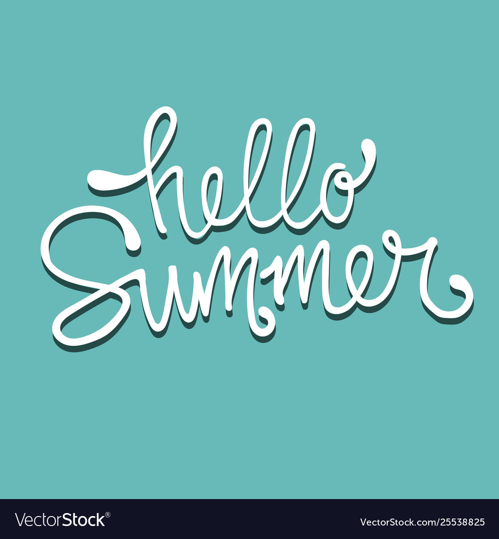 Hello summer hand drawn lettering logo template