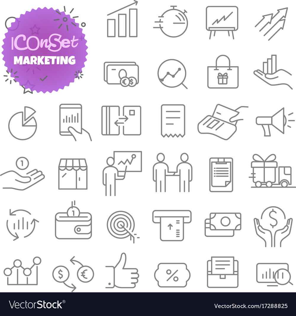 Outline icon set pictogram set marketing
