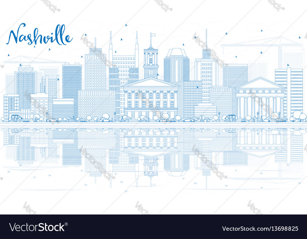 Outline nashville skyline with blue buildings and
