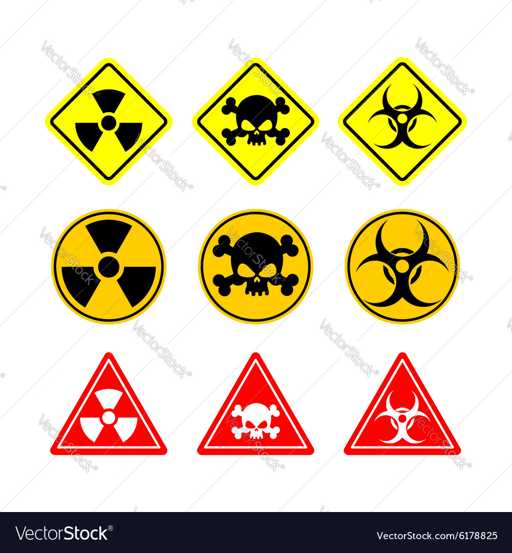 Set Sign Biohazard Toxicity Dangerous Yellow Signs