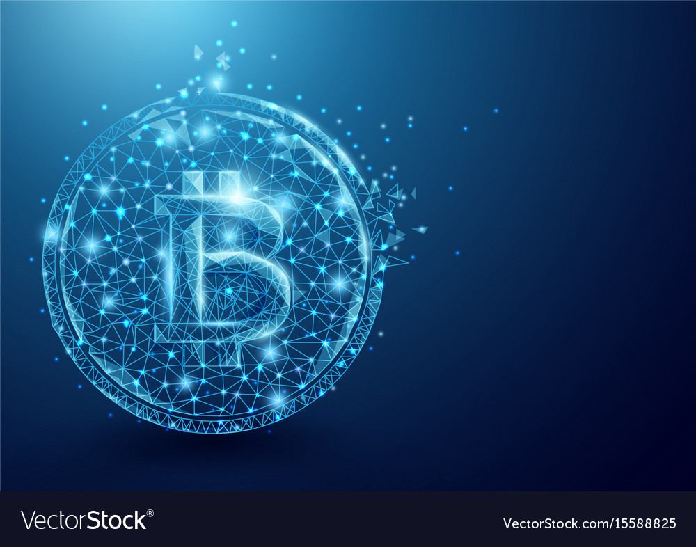 Wireframe bitcoin mesh from a starry sky