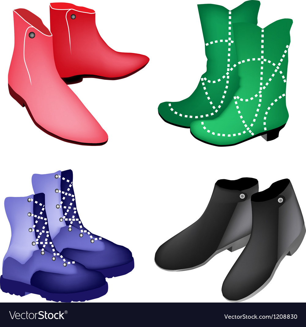 A Set of Four Style Women Shoes vector image