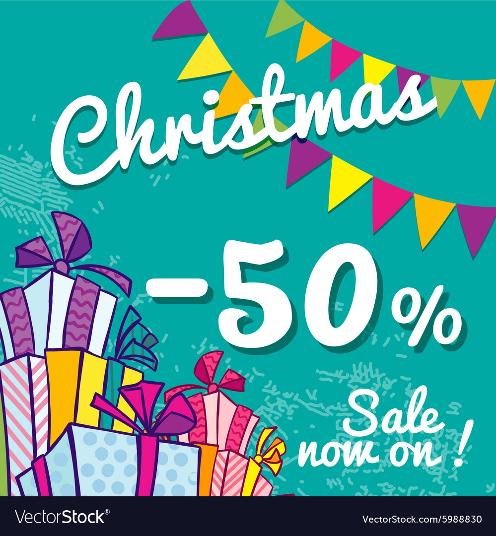 Bright Christmas sale banner with boxes of gifts Vector Image