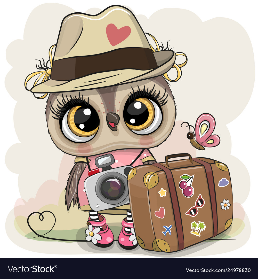 Cartoon owl in a hat with luggage