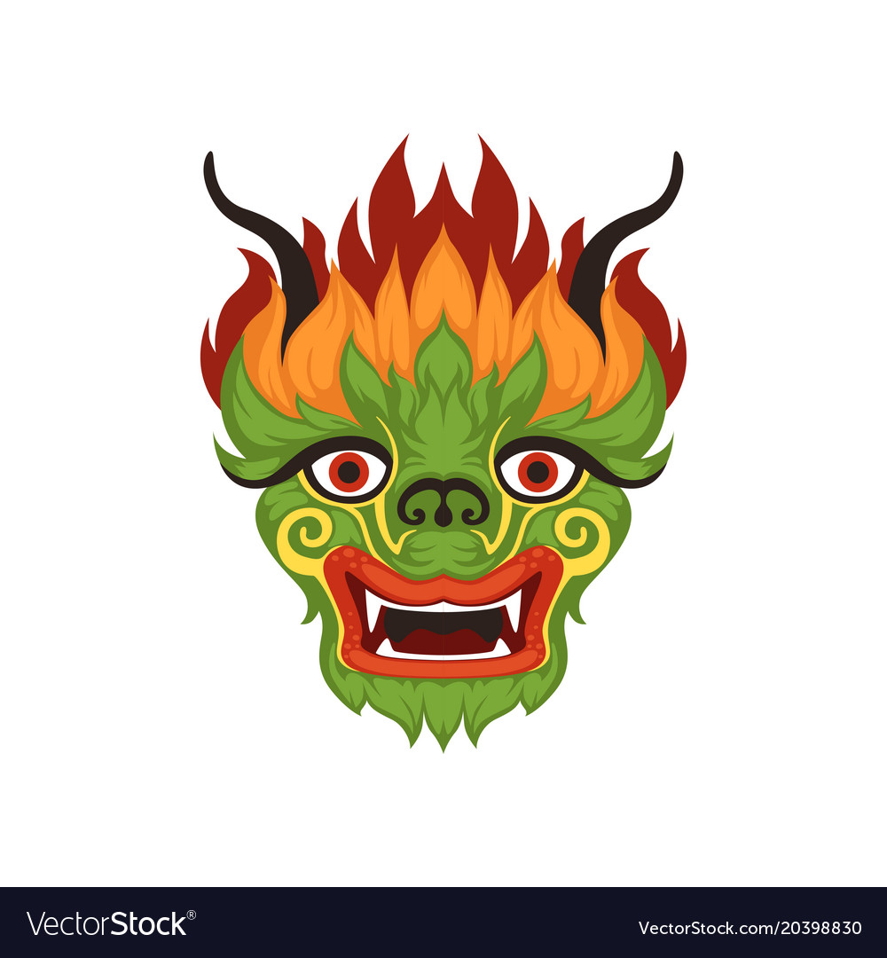 Chinese Dragon Face Colorful Symbol Of Royalty Free Vector