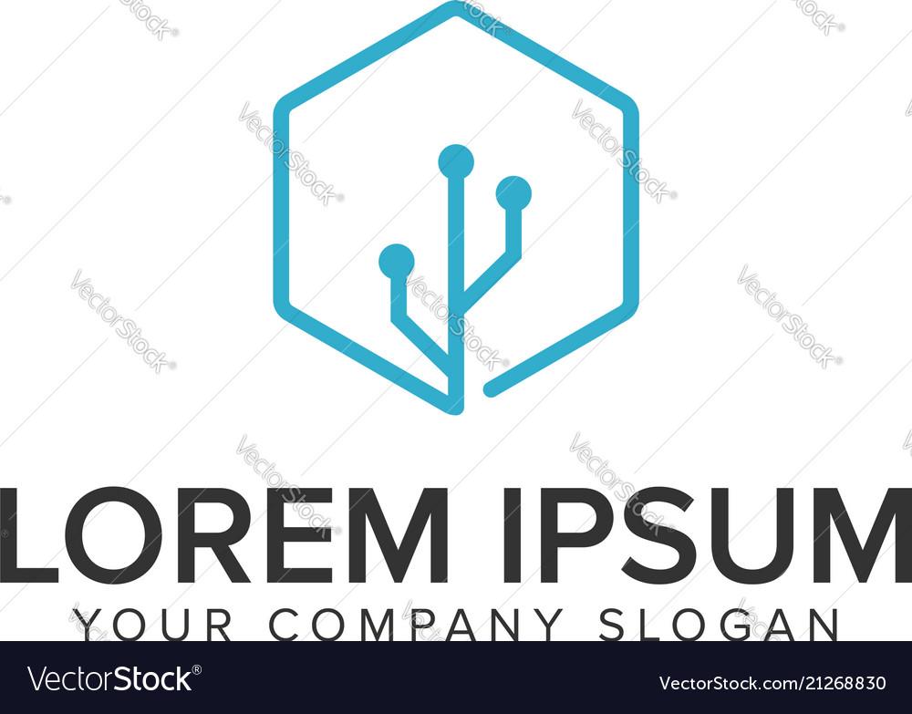 Conection usb logo design concept template