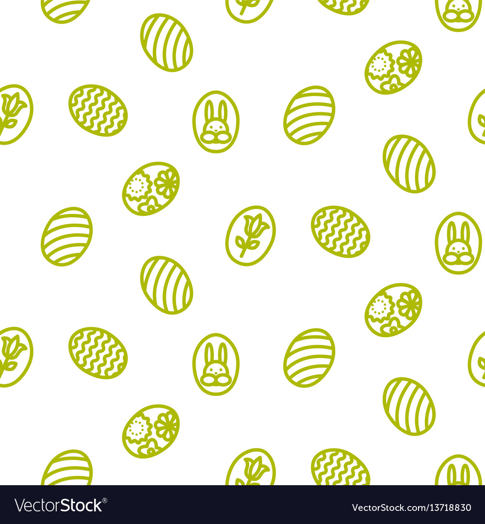 Easter outline icon seamless pattern