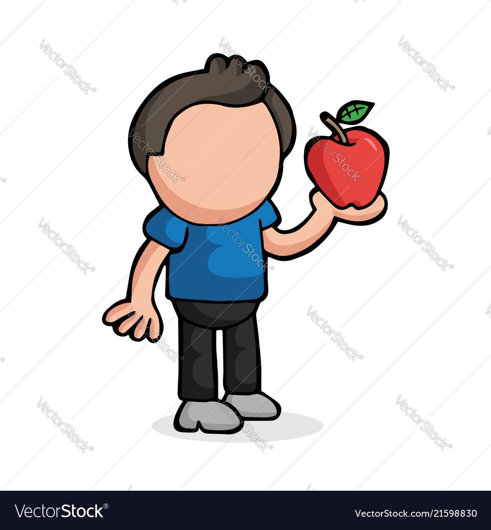 Hand-drawn cartoon of man standing holding apple