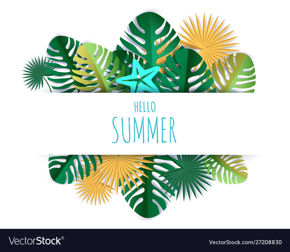 Hello summer card hand lettering typography