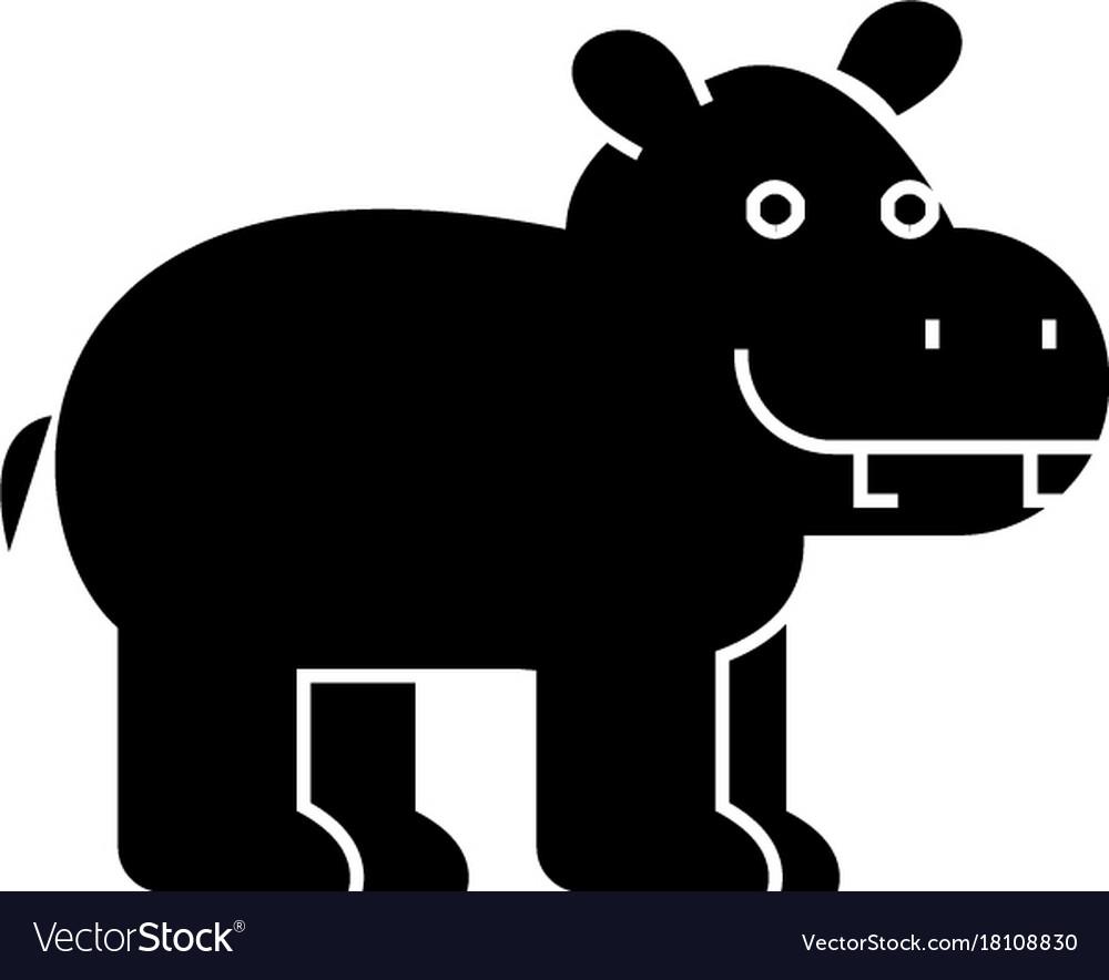 Hippo cute icon black sign