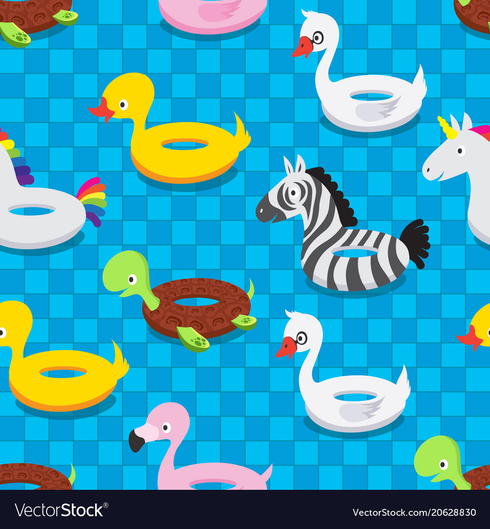 Inflatable animal rubber toys in swimming pool