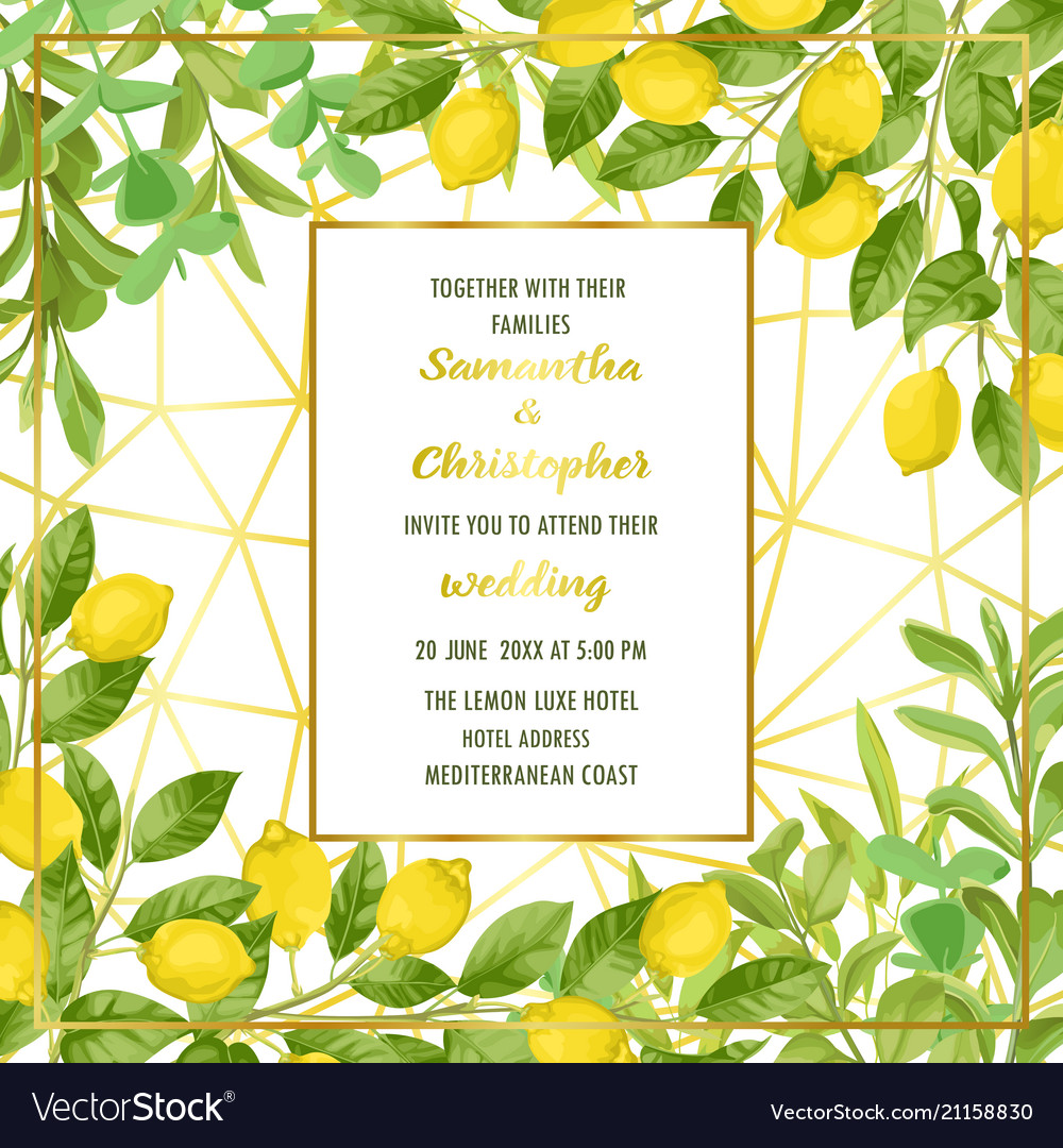 Luxury wedding invitation card with lemon brunches
