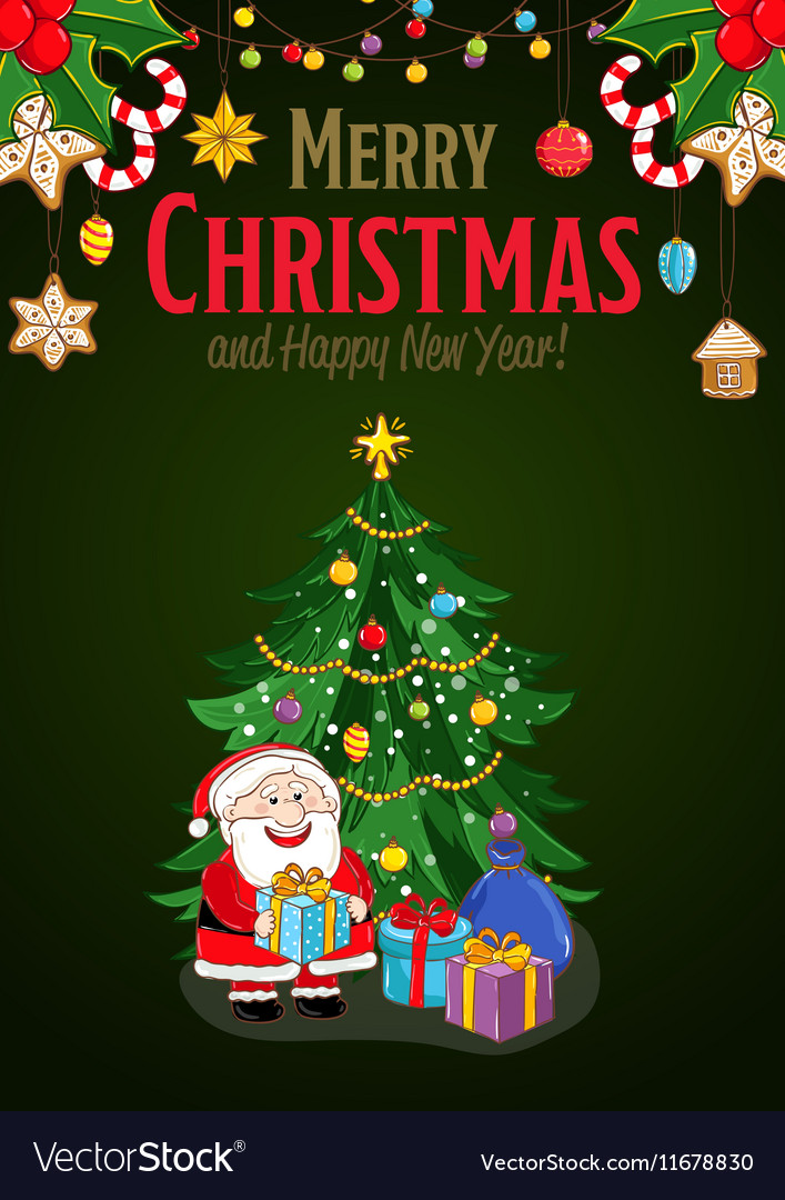 Merry Christmas and New Year Holiday Concept vector image