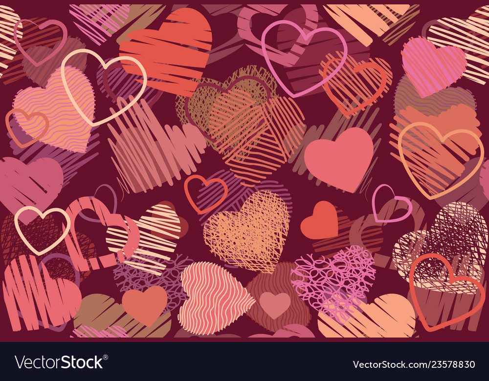 Seamless background of hand drawn stylized hearts