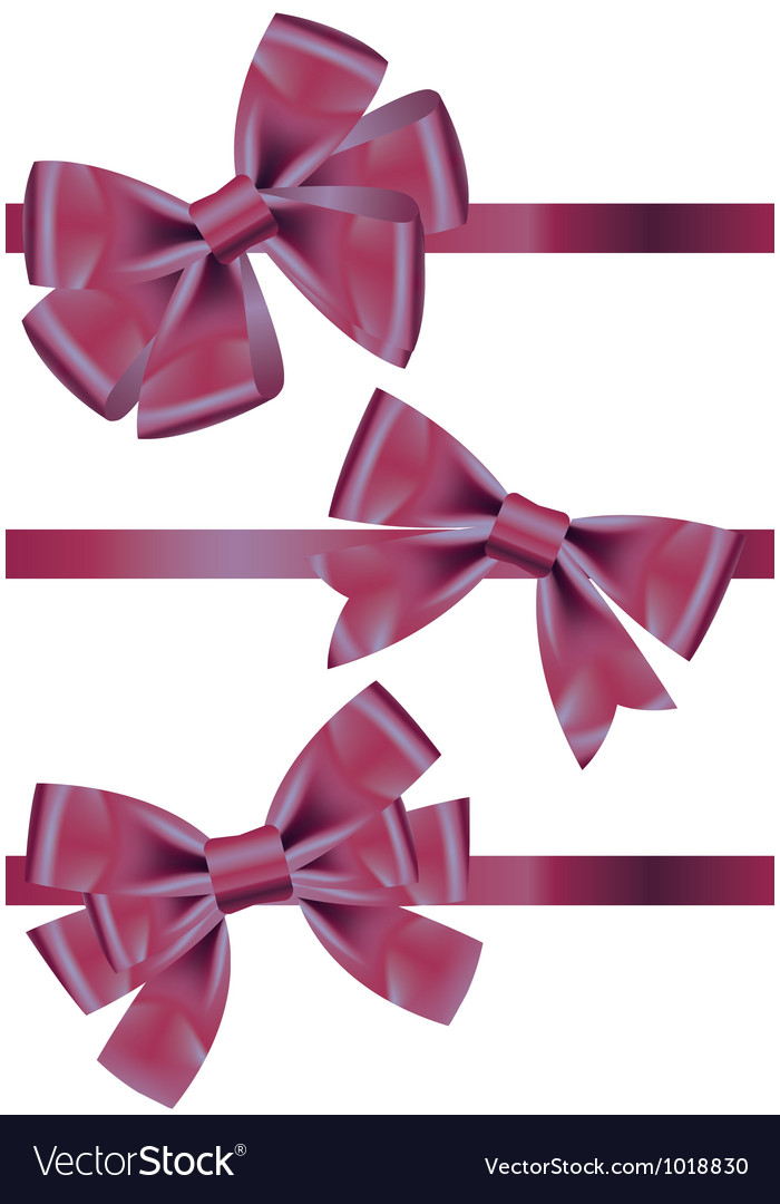 Set of different types of purple satin ribbons