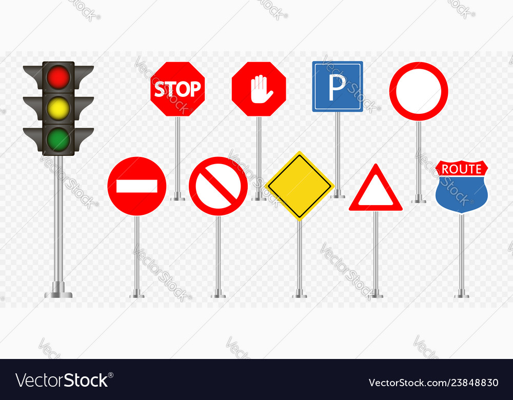 Set of road signs and traffic light