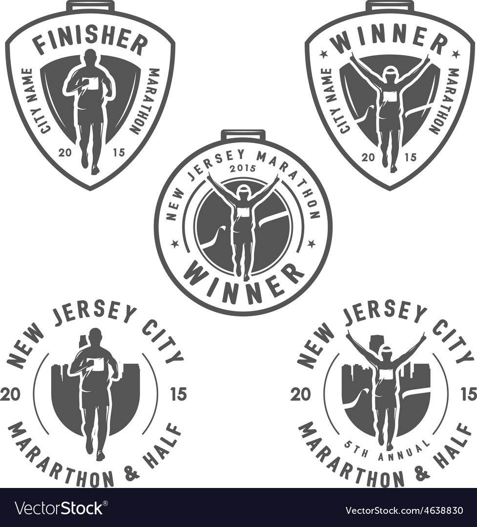 Set of vintage marathon medals and design elements