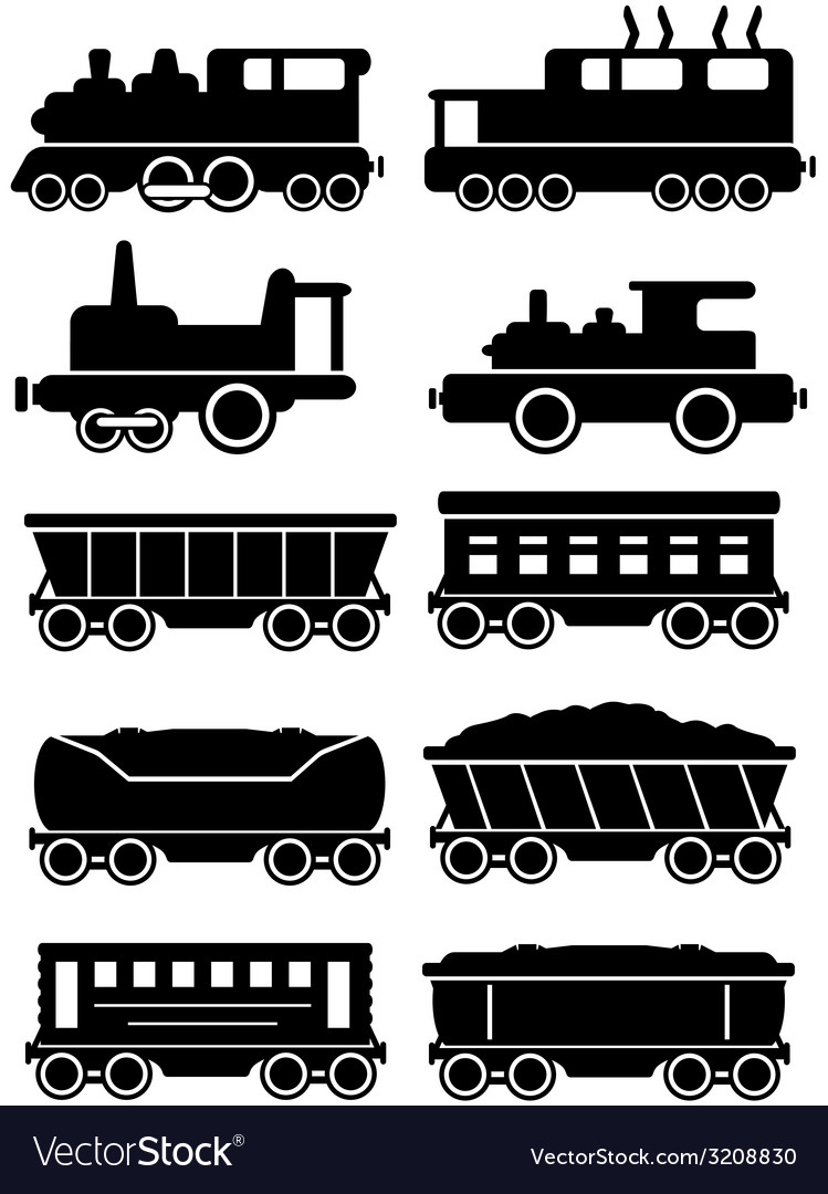 Set trains with freight and passenger car for rail vector image