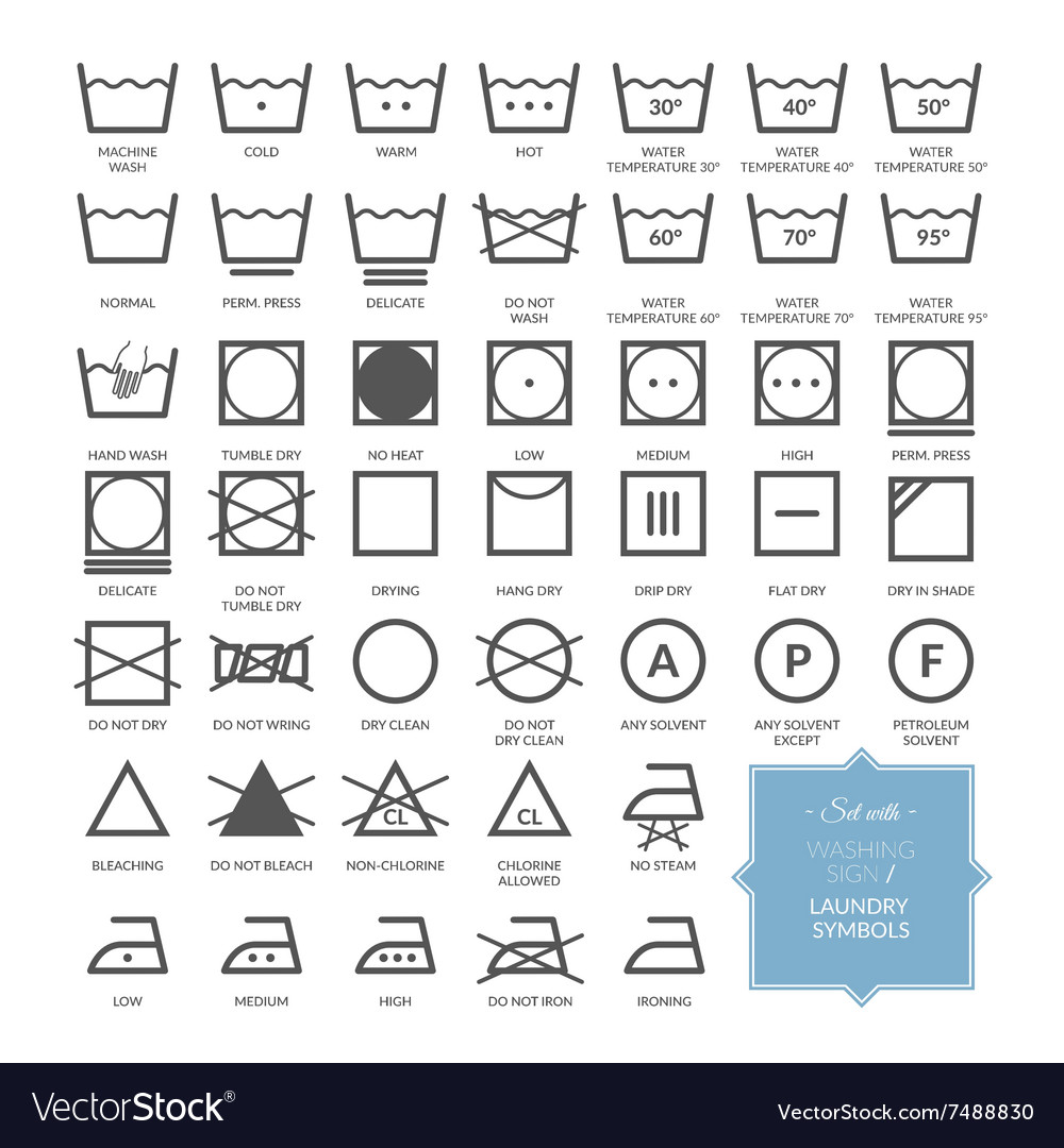 set with thin line washing icons and laundry symbo