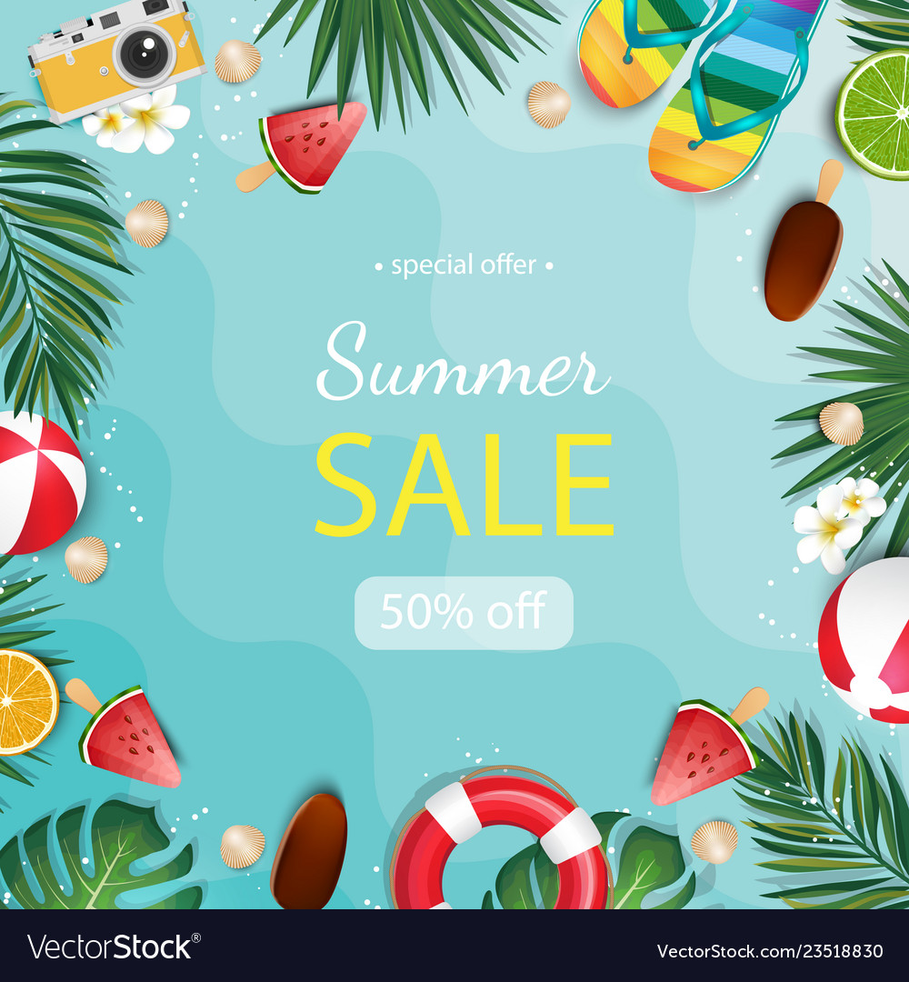 Summer sale background with tropical palm and