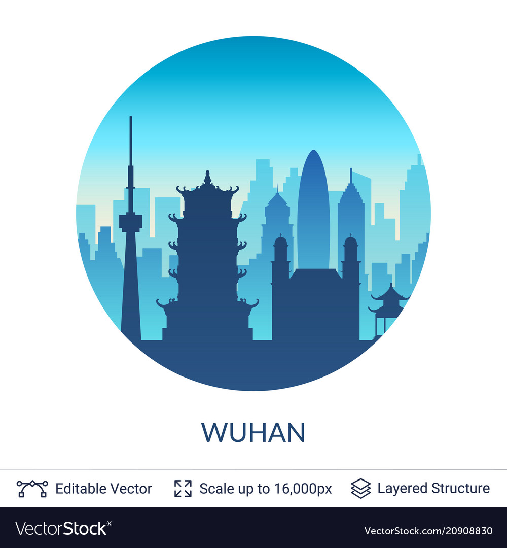 Wuhan famous china city scape