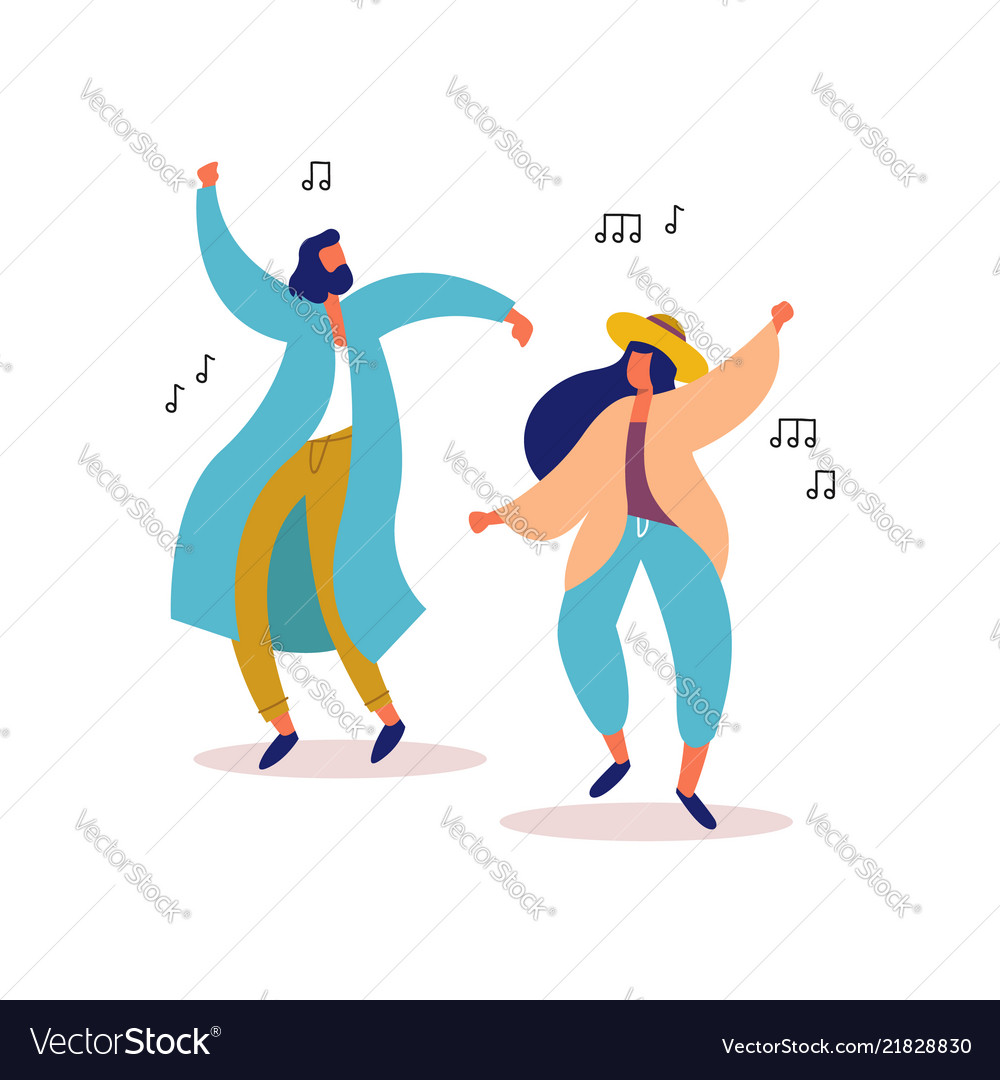 Young man and woman friends dancing to party music