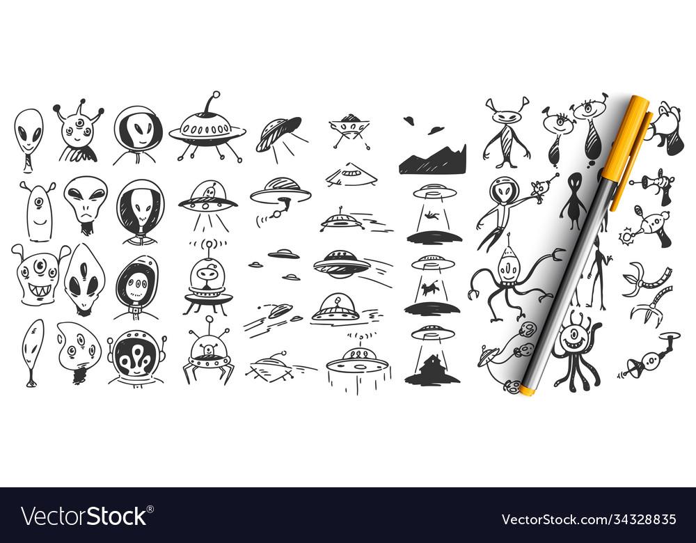 Aliens doodle set