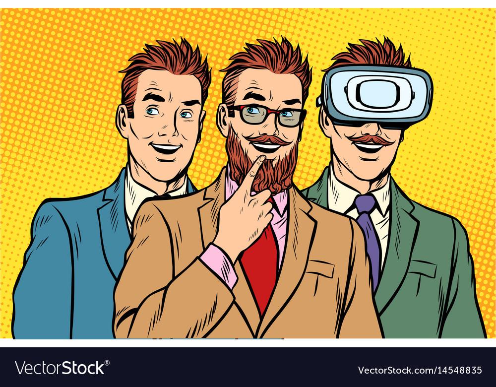 Band trendy retro businessmen vr glasses