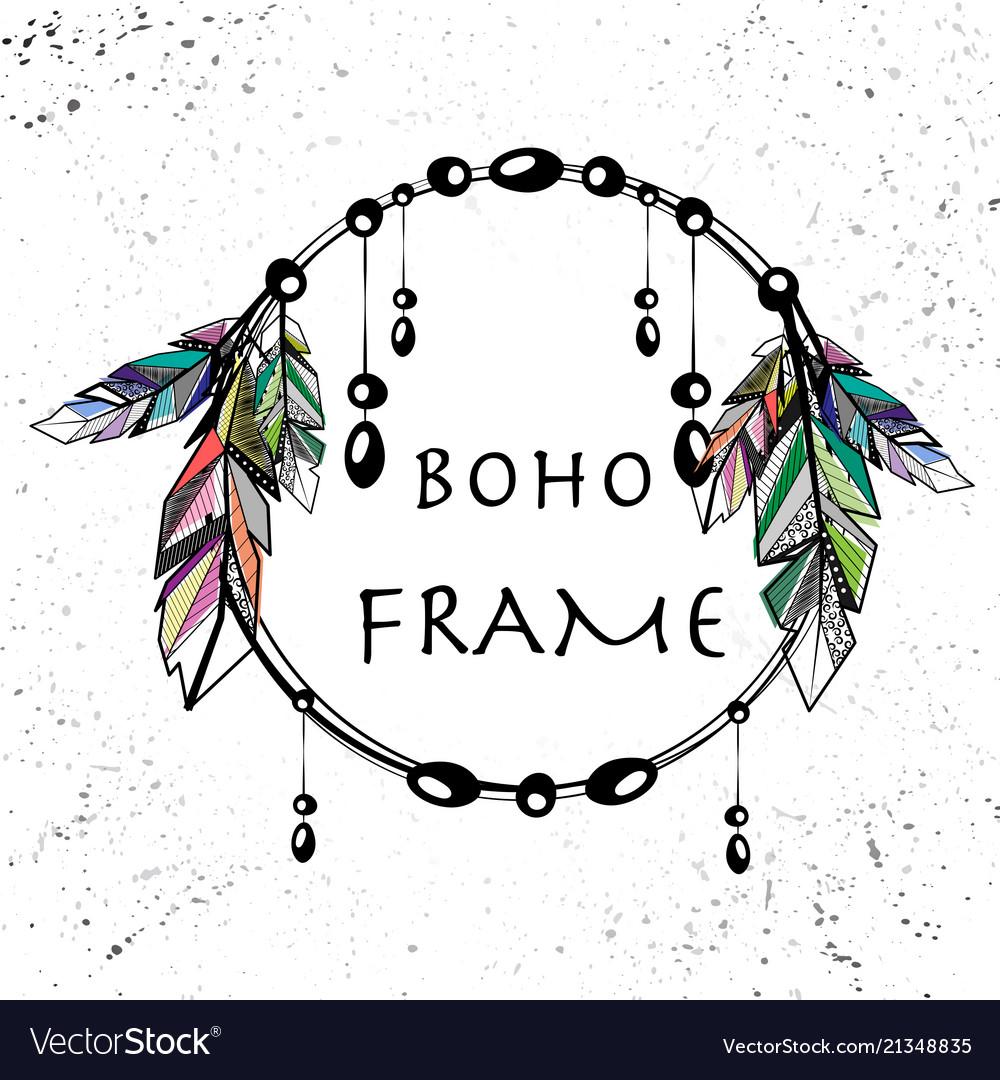 Boho style circle frame
