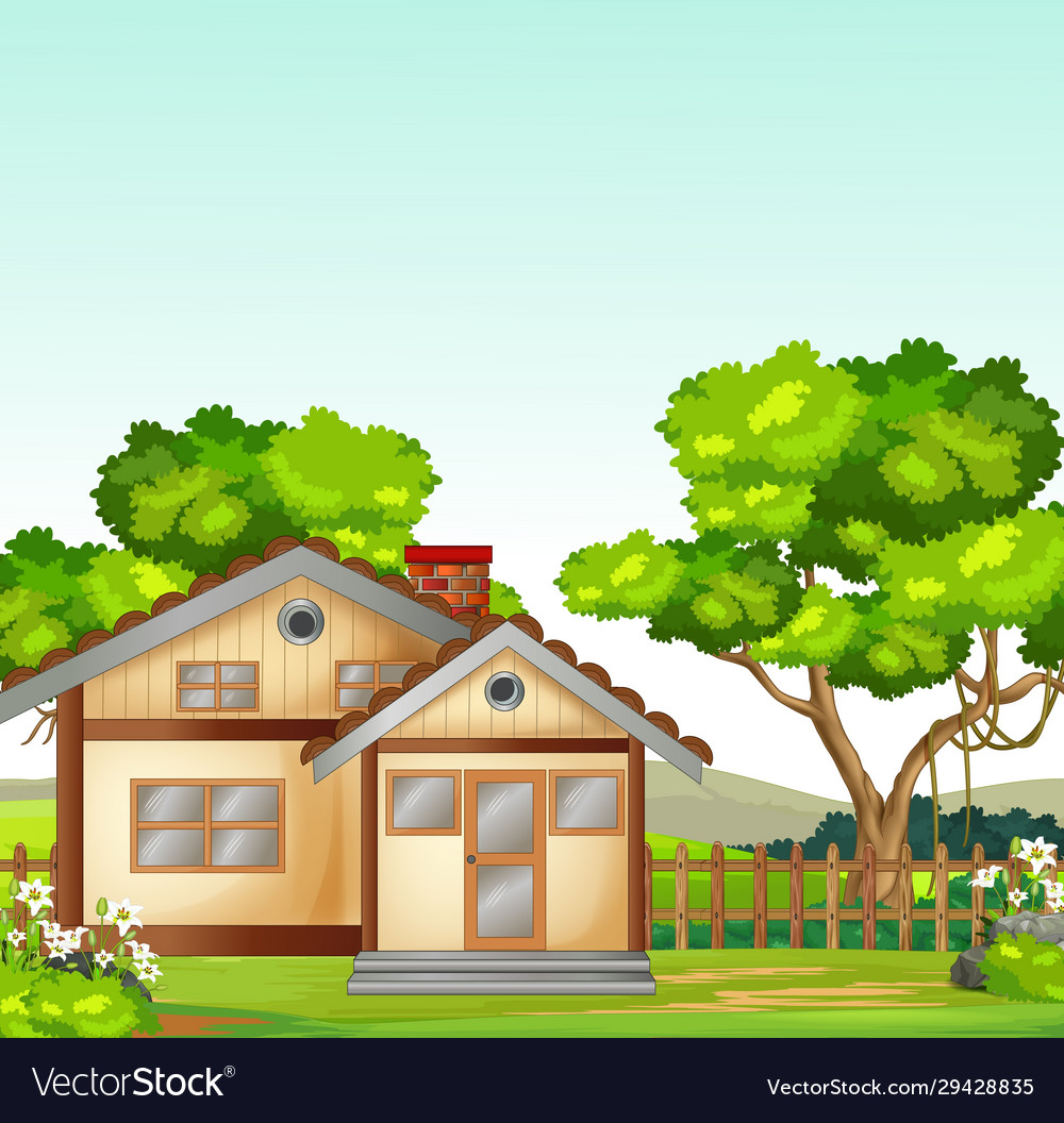 Brown Wood House In Grass Field Cartoon Royalty Free Vector